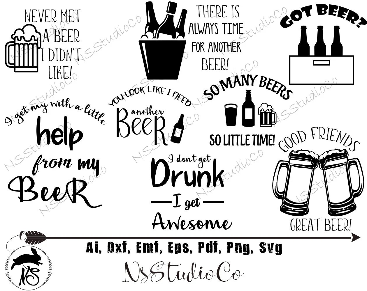 Beer Svg Bundle Svg For Cricut Silhouette Beer Silhouette