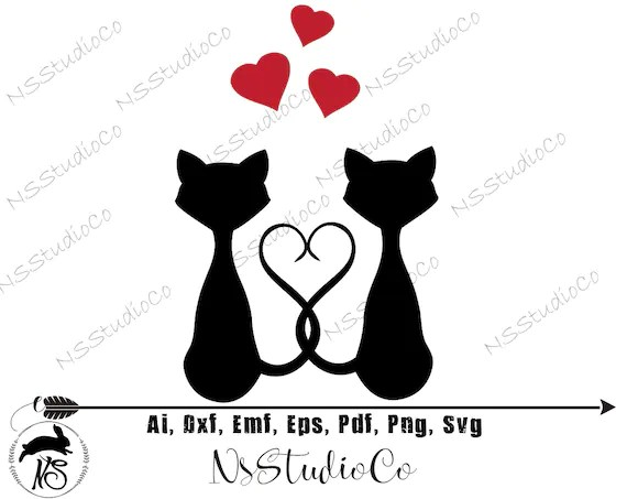 Download Cats love svg dxf png Cricut Silhouette Cat shirt cats | Etsy