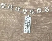 STRONG is Beautiful Inspirational Charm Necklace | Handmade | Silver Tab | Custom Length | Double-sided
