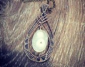 Wire Wrapped Solar Quartz | Handmade | White | Copper | Pendant | Gifts for Her | Boho | Chain | Beautiful | Weave | Dangle | Crisscross