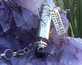 "Amethyst Bullet Strength Necklace | Handmade | Recycled | Upcycled | Gemstone | Purple | Wire Wrap | ""Strong is beautiful."""