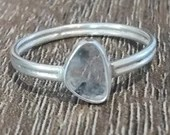 Diamond Slice Ring | 7.5 | Earth Mined | 925 Silver Double Band | Handmade | Boho Hippie Gypsy | Gift for Her | April Birthday