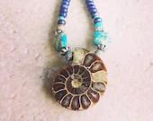 Beaded Ammonite Fossil Necklace | Gemstone | Lapis Lazuli | Turquoise | Blue Green Sea Sediment | Boho