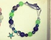 Beach Boho Beaded Bracelets | Handmade | Custom Size | Rainbow | Blue | Toggle | Charm | Shell Sand Dollar Sea Star