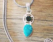Sterling Silver Turquoise & Chrome Diopside Necklace | Handmade Chain | Gifts For Her | 925 | Boho | Blue | Natural Stone | Native | Love