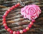 Carved Rose Bracelet | Carved Pink Shell & Agate  Handmade | Gifts For Her | Toggle | Pink | Surf | Keepsake | Quinceanera | Unique | Love