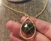 22k Gold Labradorite Necklace | Wire Wrapped | Grey | Wicca | Gifts For Her | Unique | Handmade | Boho | Anniversary | keepsake | Love
