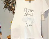 Resting Beach Face Custom T-shirt | size S - L | White V Neck | Beach Lover Graphic Tee | Women | Teens | RBF | Funny | Gifts for Her