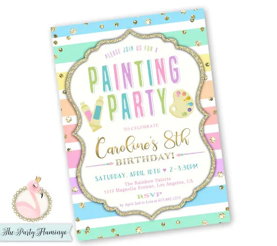 painting party invitation art party birthday invitations painting birthday invitation girl s paint party invite printable or printed