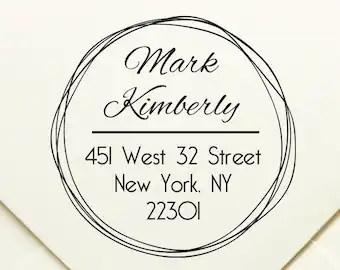round address stamp etsy