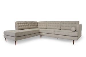 Mid Century Tufted Modern Danish Style Sectional Sofa With Walnut Legs Reversible Seat And Back Cushions L Shaped Contemporary Style Couch