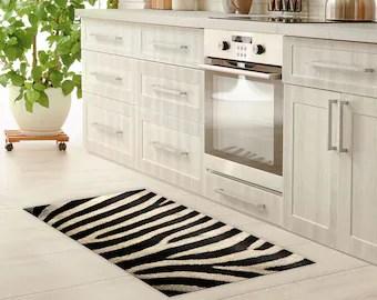 kitchen rug honest perfect form etsy vinyl floor mat linoleum zebra bath waterproof doormat art area pvc carpet