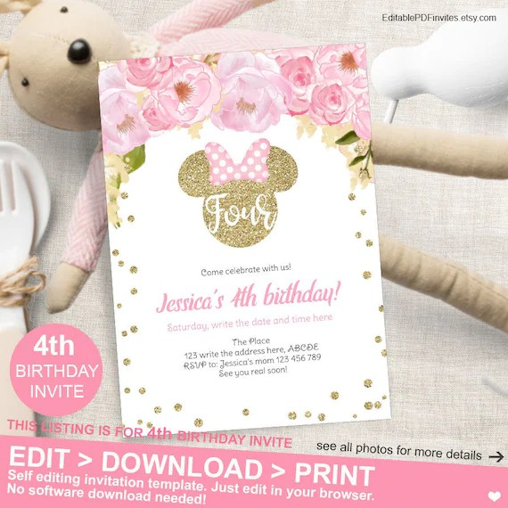 minnie mouse 4th birthday invitation pink and gold floral fourth birthday invite minnie mouse birthday instant download mm fpg
