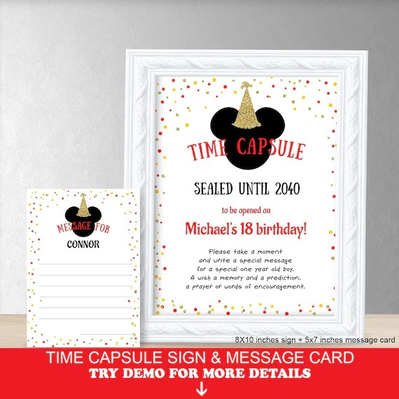 time capsule first birthday mickey