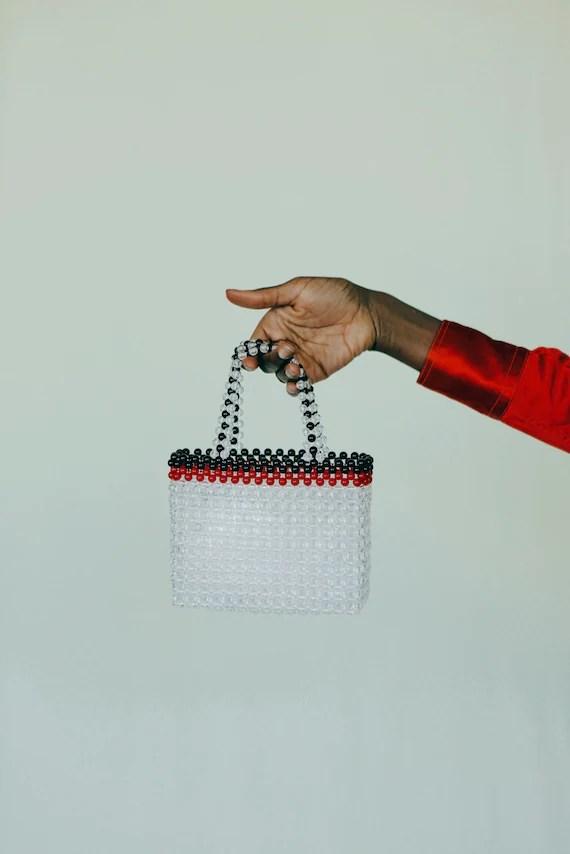 Transparent Tote Beaded Bag