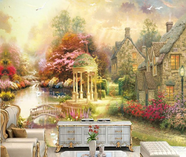 Oil Painting Two Countryside Scenery Wallpaper Wall Murals Nature Plants Houses Scenic Wallpapereuropean Town Landscape Wall Mural
