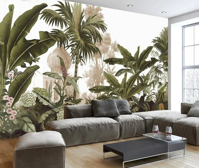 Hand Painted Tropical Rainforest Forest Wallpaper Wall Mural Jungle Frorest Trees Scenic Wall Mural Rainforest Plants Trees Wall Murals