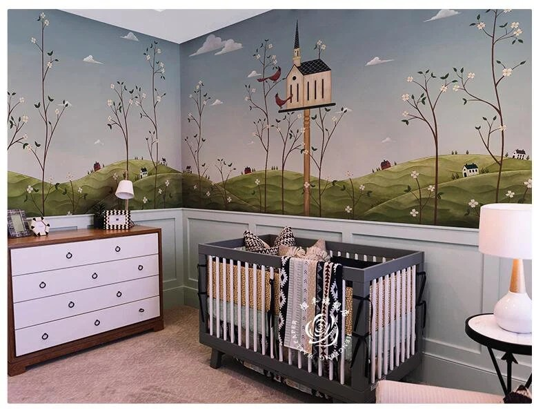 For the boys woodland theme mix a little from the outdoor theme bedrooms and the hunting lodge northwoods theme bedrooms to create your own unique woodland forest themed bedroom, filled with animals of the wild, rustic decor and novelty accessories. Spring Forest With Birds With Tree House Nursery Children Scenic Wall Mural Wall Decor Hand Painted Spring Forest Wallpaper Wall Mural