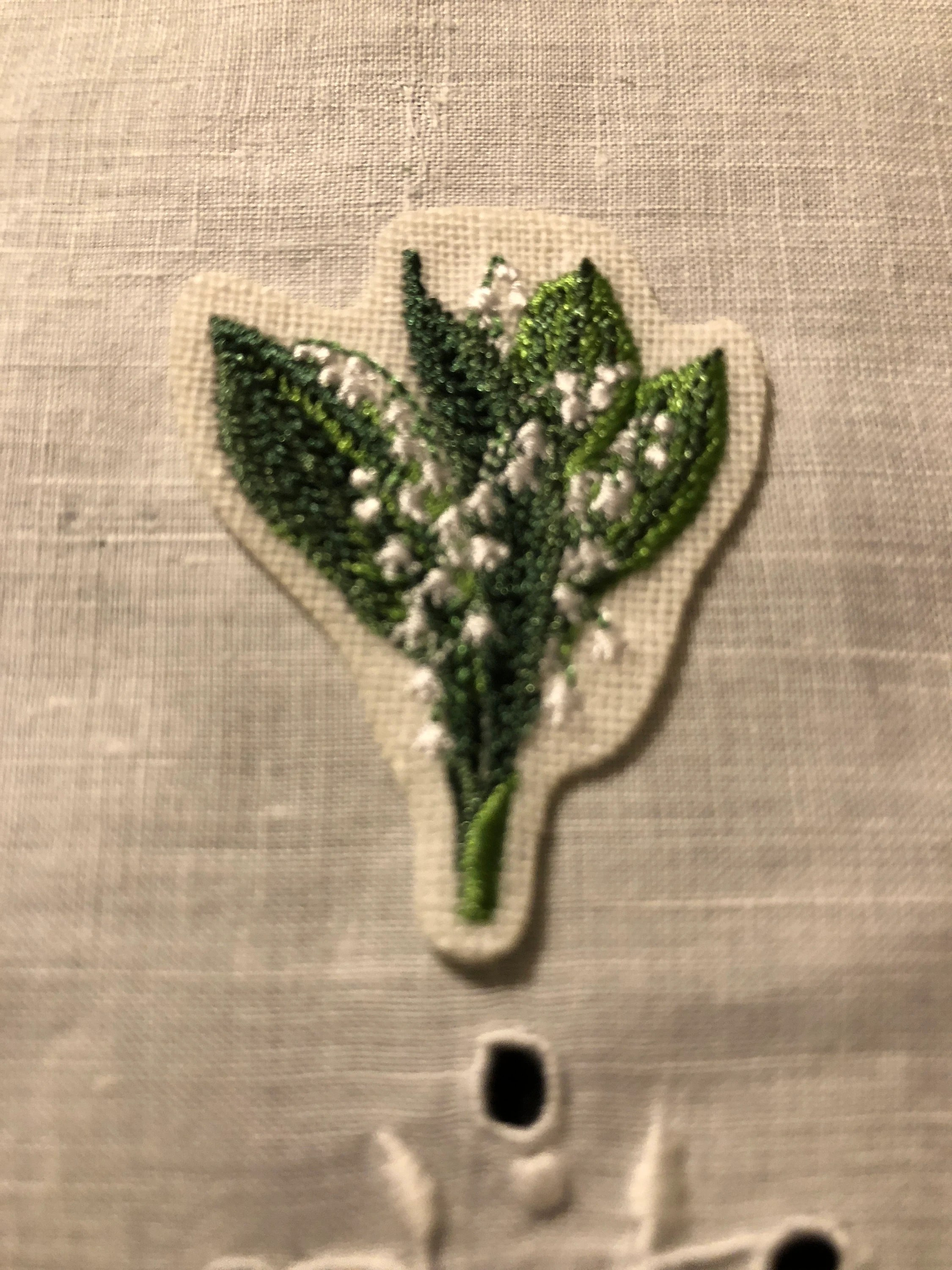 Lily Of The Valley Embroidery : valley, embroidery, Applique, Embroidered, Valley