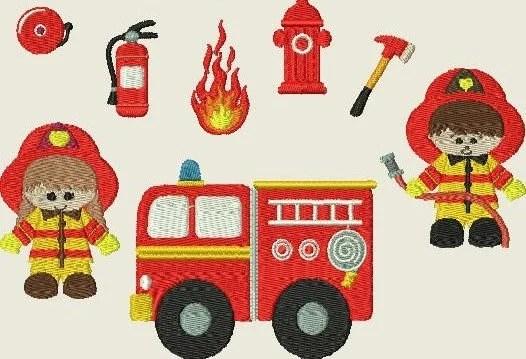 Stickdatei Feuerwehr Feuerwehrauto Machine Embroidery Design  Etsy