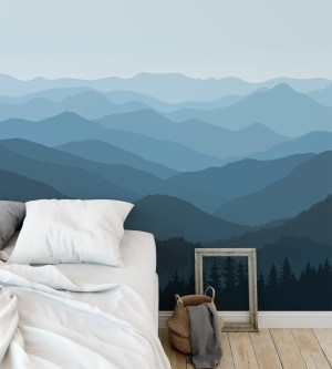 rec mountain continuous removable mural nursery morning landscape dark paper