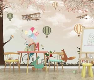 nursery elephant forest mr rec theme animals biplane balloon playroom mural phone paper animal