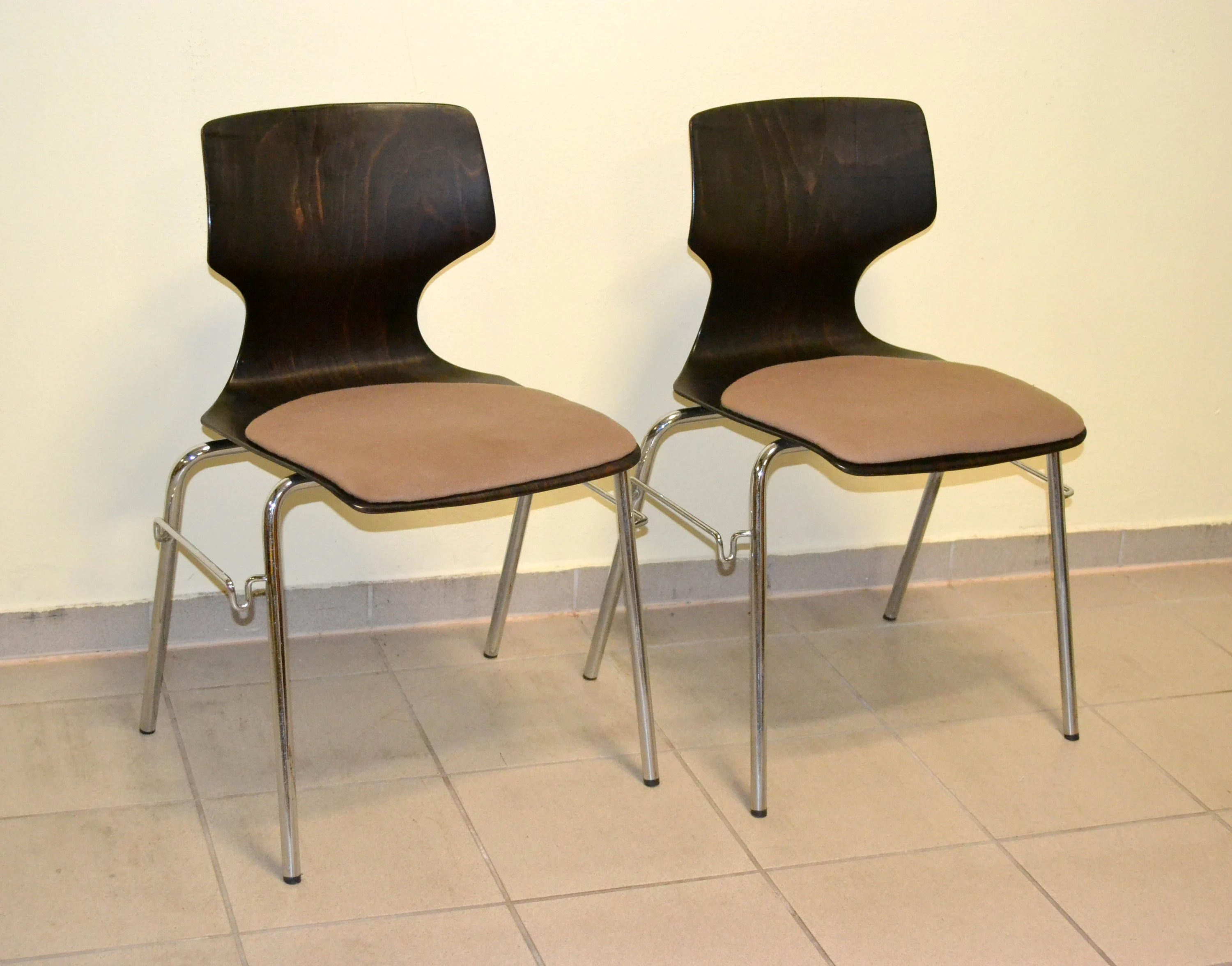 Beautiful Chairs Flötotto Chair 70s Design Chair Vintage 60s Space Age Mid Century Brocante Wood Wood Chrome Chair Waiting Room Retro Modern
