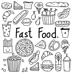 doodle food fast doodles hand vector drawn clipart line easy drawings kawaii comida coloring bakery cute junk coffee draw pages