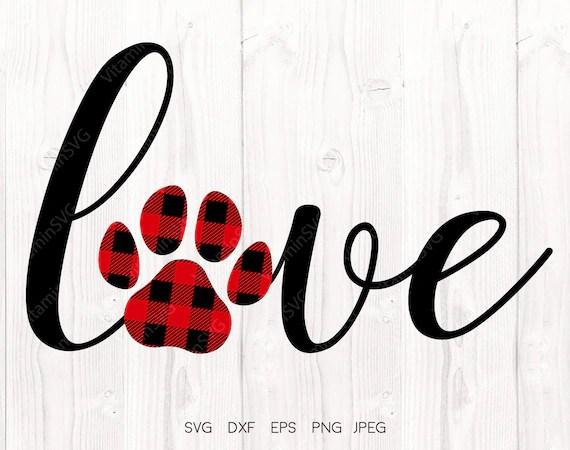 Download Love paw svg Buffalo plaid paw svg Paw svg love paw print ...