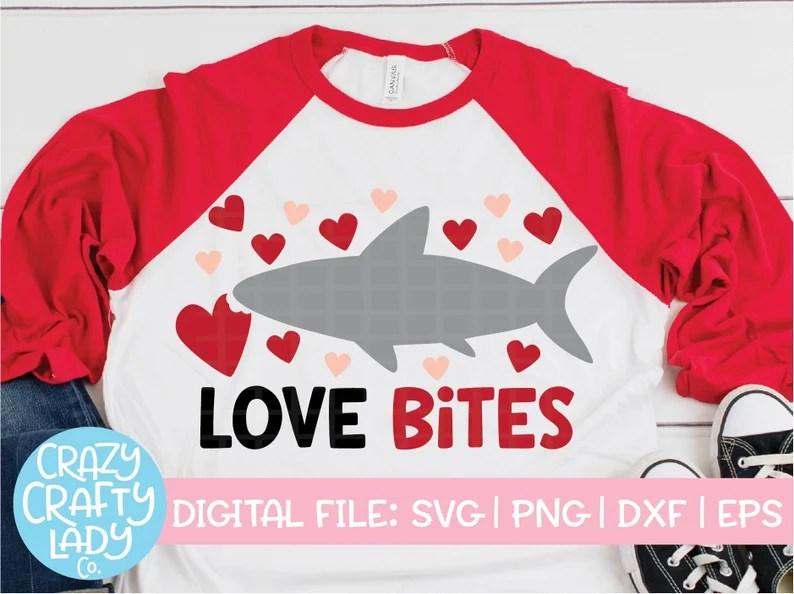 Download Love Bites SVG Valentine's Day Cut File Winter Shark | Etsy