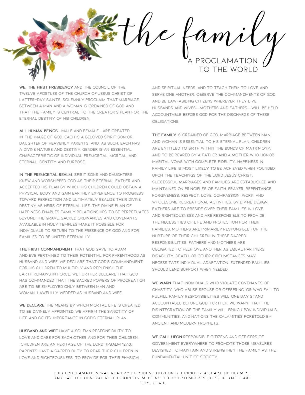The Family Proclamation Pdf : family, proclamation, Family, Proclamation, Floral, Printable, Under, Dollars