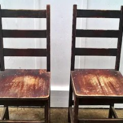 Vintage Wooden Dining Chairs Swinging Chair Neopets Etsy Kitchen Ladder Back Pair Farmhouse Cottage Wpa Marked Primitive Shabby Chic Original Finish Homestead