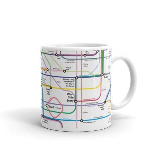 The New Broadway Musical History Tube Map Mug  cadeaux de noel comédie musicale