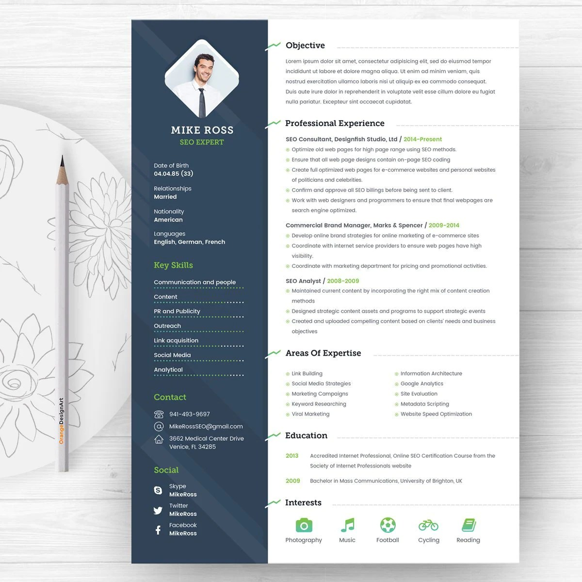 Online Graphic Designer Cover Letter Resume Template With Photo Professional Resume And Creative Cv Template Business Card Design Cover Letter Template Word Resume