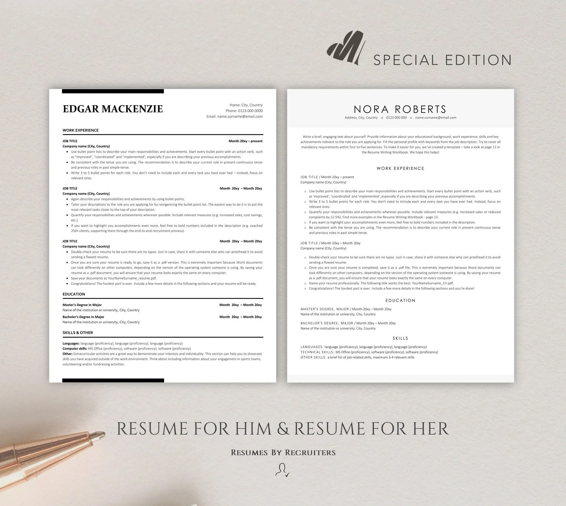 Reduce data entry with a bulk resume upload and streamline your recruitment. Two Ats Friendly Resume Templates Instant Download Ats Cv Etsy