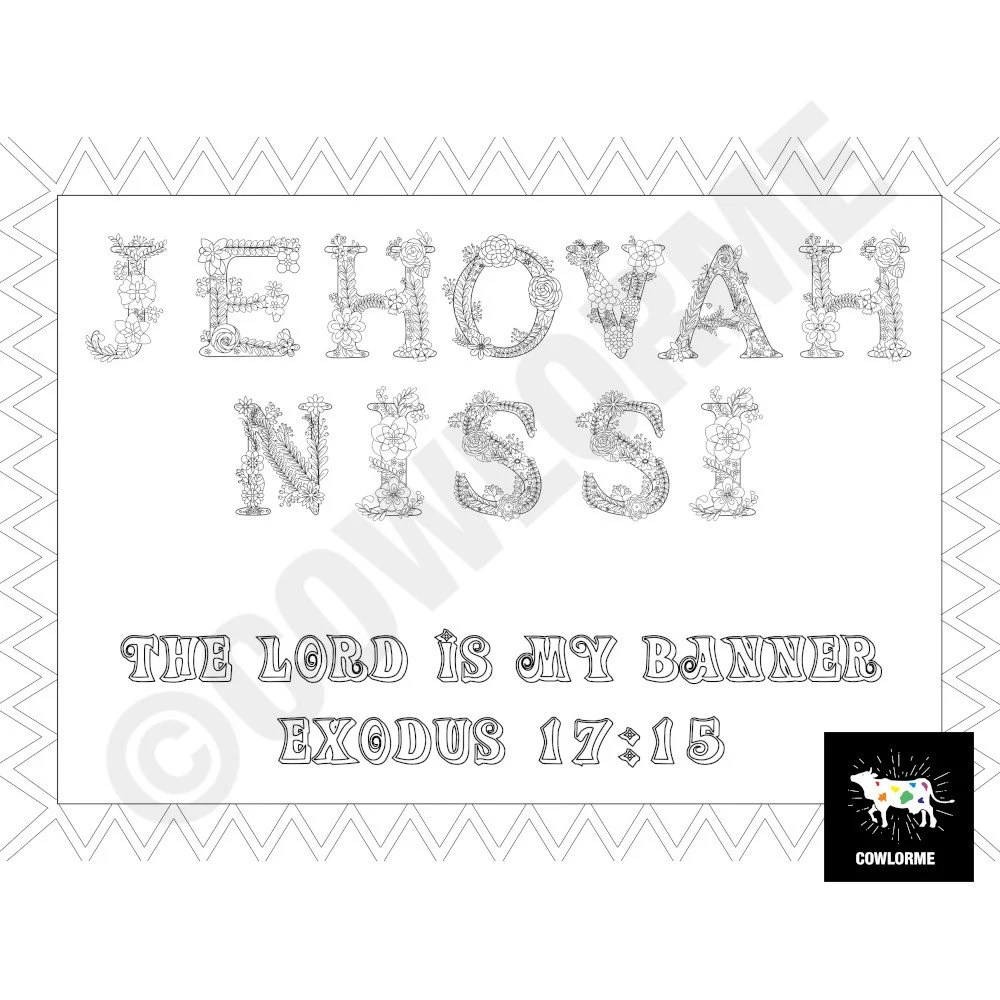 Names of God Coloring Page PDF Jehovah Nissi Exodus 17:15
