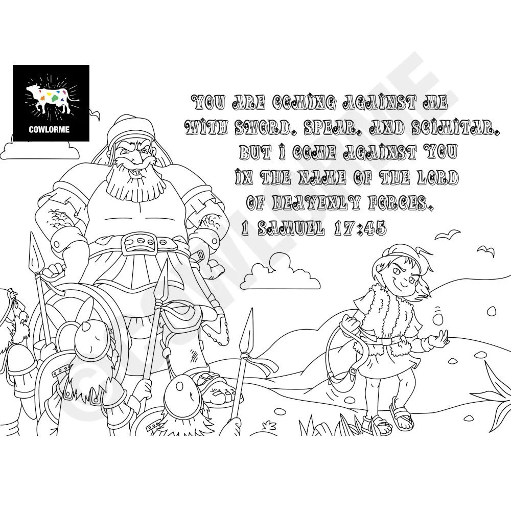 Kids Sunday School David and Goliath Coloring Page Bible