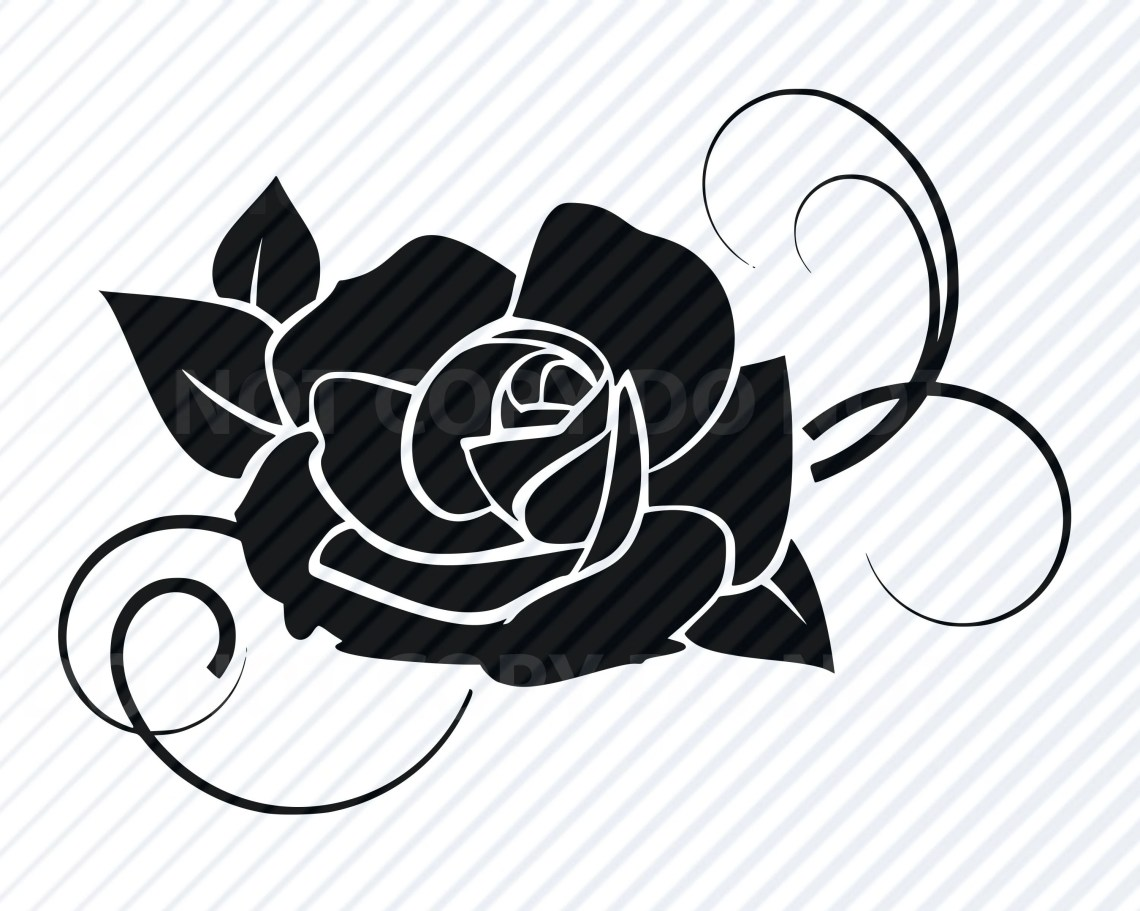 Download Black Rose Flower SVG Files for cricut Flower Vector ...