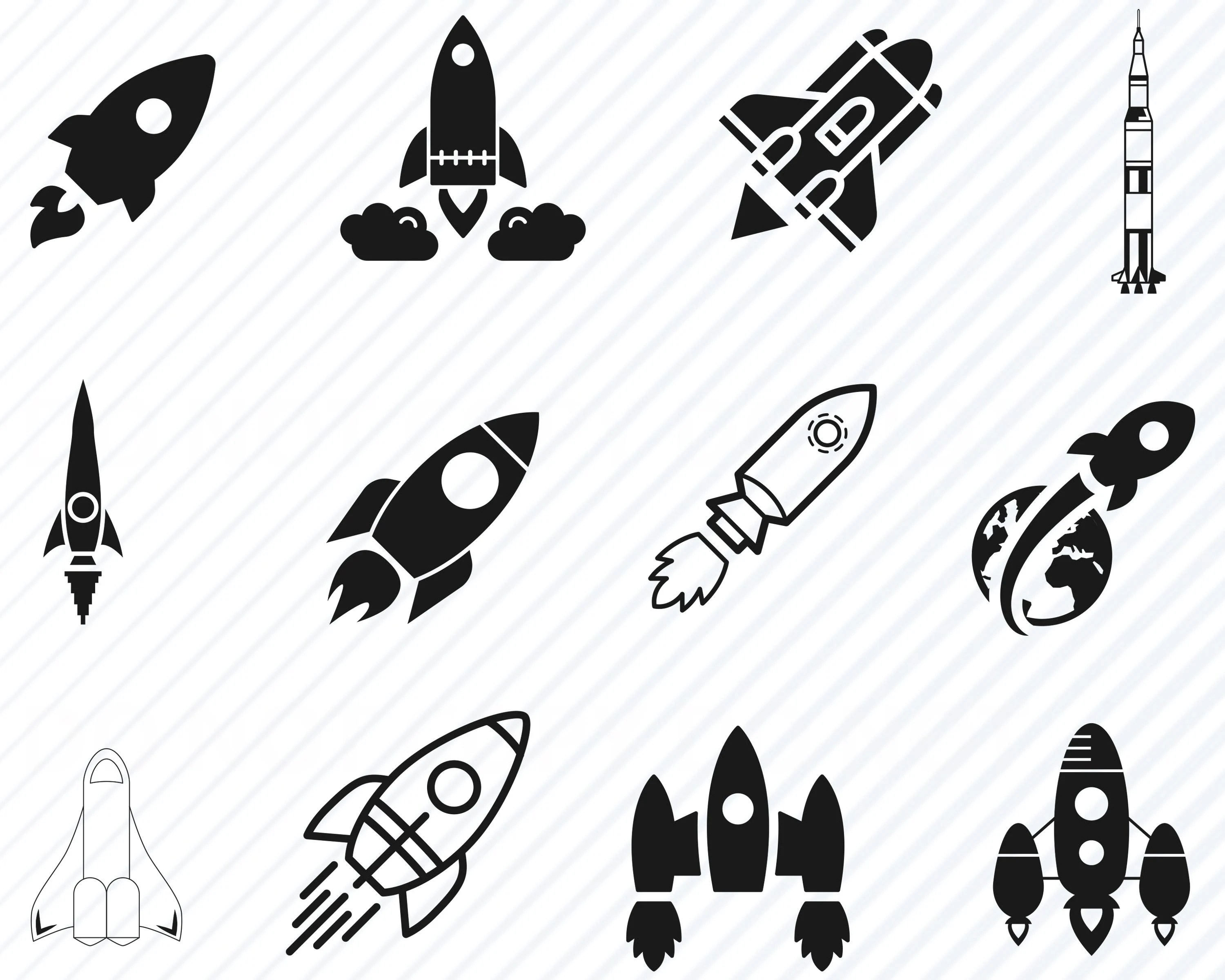 Rocket Svg Bundle Rocket Ship Vector Images Silhouette