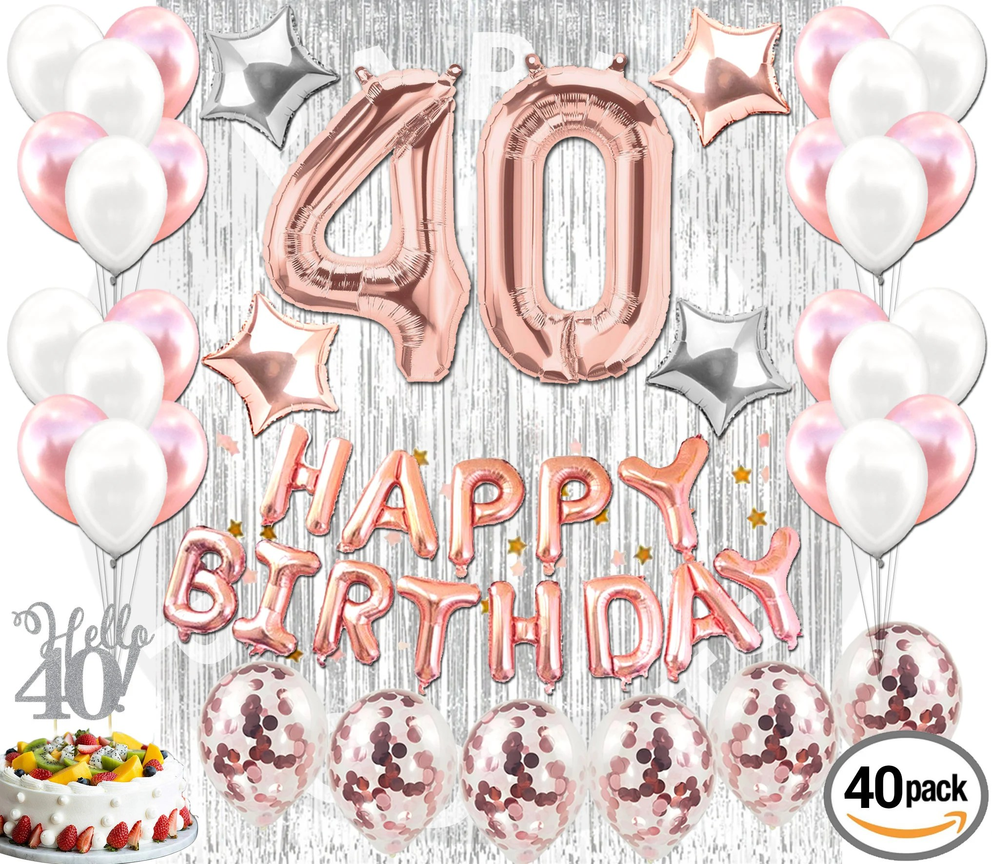 40th Birthday Decorations Rose Gold 40 Pieces Great For Party Supplies And