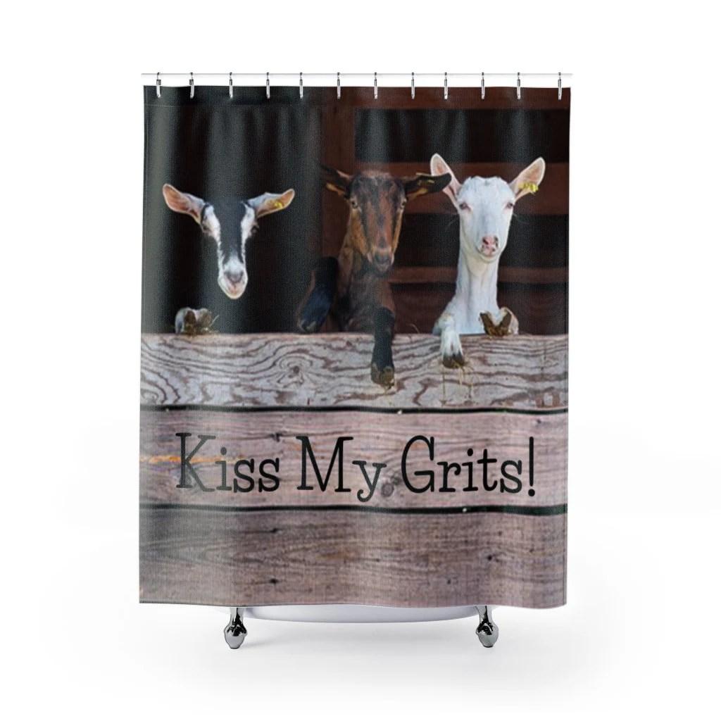 goat shower curtain etsy
