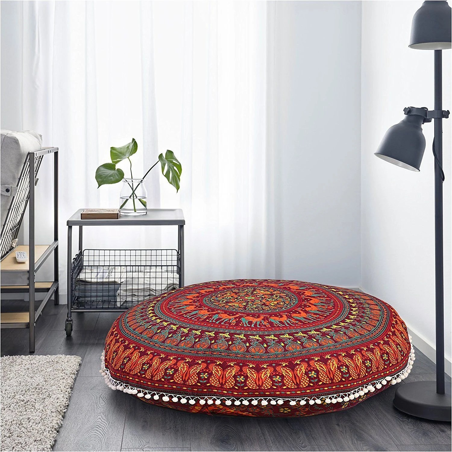 floor chair with back support philippines camping chairs costco cushion etsy large mandala covers 100 cotton bohemian round ottoman poufs cover dog bed home decorative pillow case