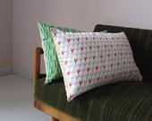 KISSEN Palms Linen&BW 40x60 Koral Red, Ice Blue