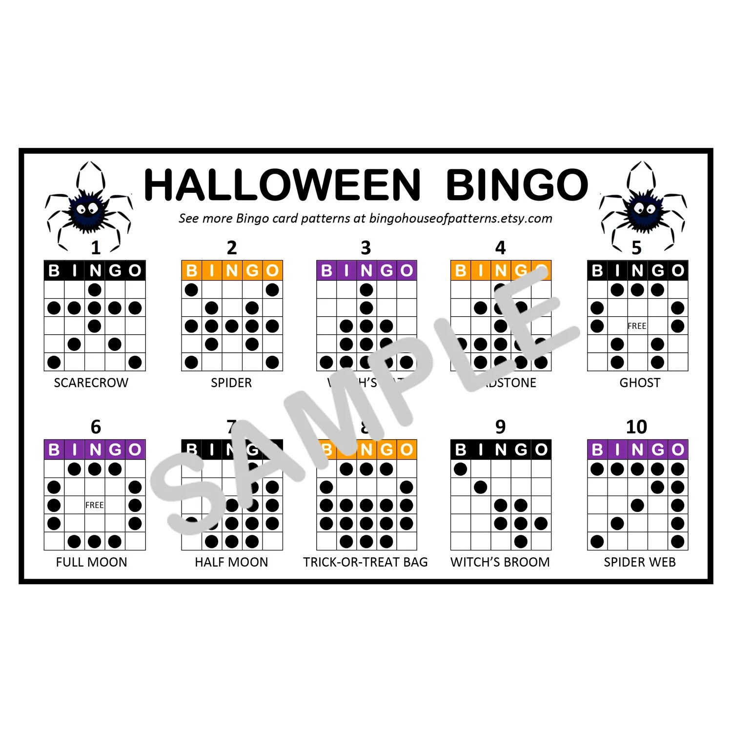 Halloween Holiday BINGO Card Patterns for Really Fun BINGO