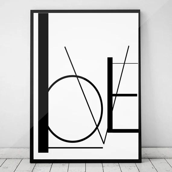 LOVE PRINT, BLACK & WHITE ABSTRACT WALL ART