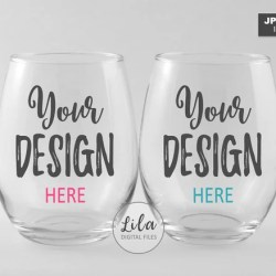 Two 2 Stemless Wine Glasses Mockup Photo Staged Photo Of A Etsy
