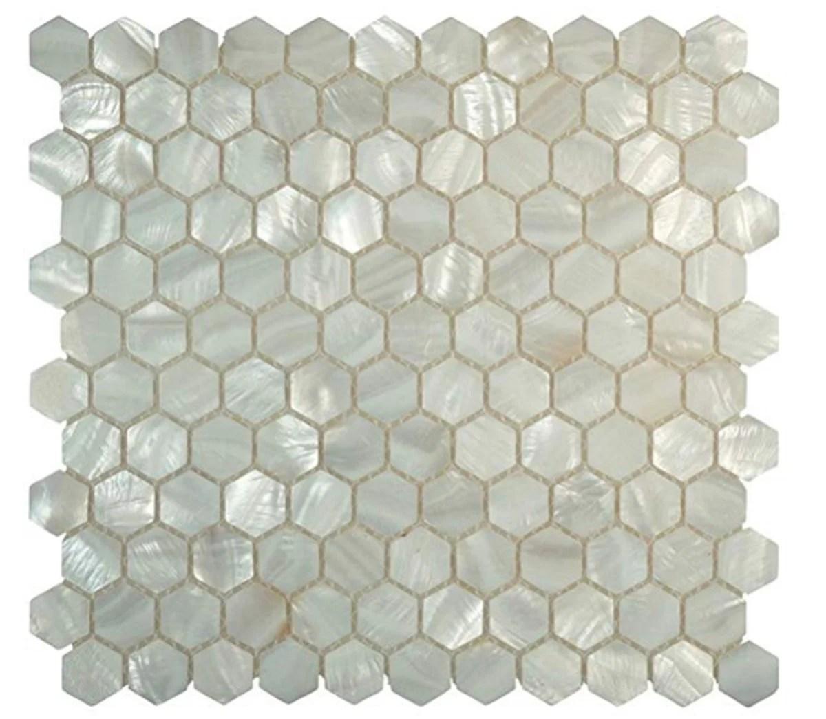 handmade genuine white hexagon mother of pearl mosaic tile for bathroom kitchen wall spa shower backsplash tile