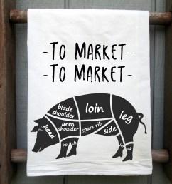 to market to market pig flour sack towel pig tea towel hog etsy parts of a pig 4 h pig diagram [ 2850 x 2288 Pixel ]