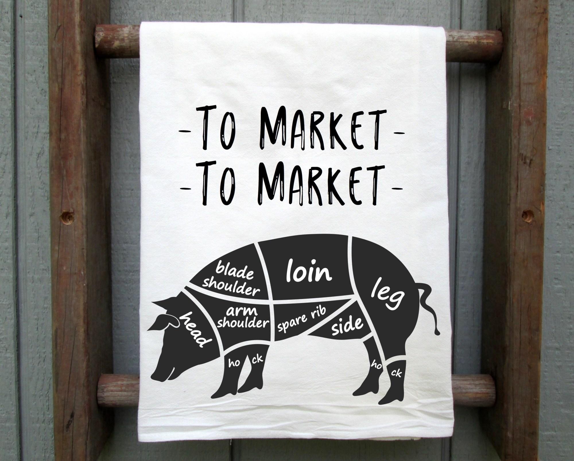 hight resolution of to market to market pig flour sack towel pig tea towel hog etsy parts of a pig 4 h pig diagram