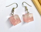 Handmade Pink clouds with gold dust effect, Cube earrings on silver drop dangle ear wires, Free Shipping